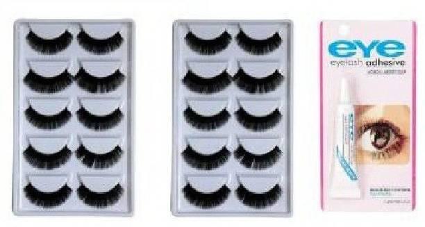 ClubComfort Soft Natural Black Thick Long fake lashes False Eyelashes Extension reusable eyelashes Eye Makeup eyelashes for women stylish set- 10 Pairs With Eyelash Glue