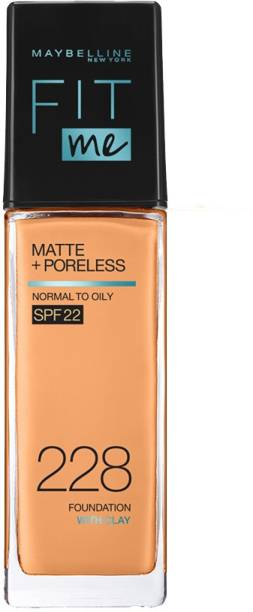 MAYBELLINE NEW YORK Fit Me Matte+Poreless Liquid Foundation (With Pump & SPF 22), 228 Soft Tan, 30ml Foundation