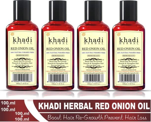 Khadi Herbal Red Onion Oil For Hair Growth Anti Hair Fall (Pack Of-4) Hair Oil