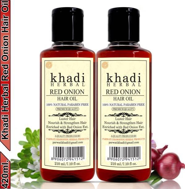 Khadi Herbal Red Onion Hair Oil Preventing Hair Loss & Promoting Hair Growth (Pack Of-2) Hair Oil