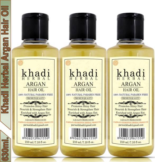 Khadi Herbal Argan Hair Oil For Shiny Nourished Hair (Pack Of-3) Hair Oil