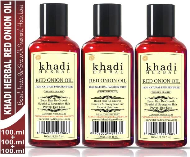 Khadi Herbal Red Onion Oil For Hair Growth Anti Hair Fall (Pack Of-3) Hair Oil