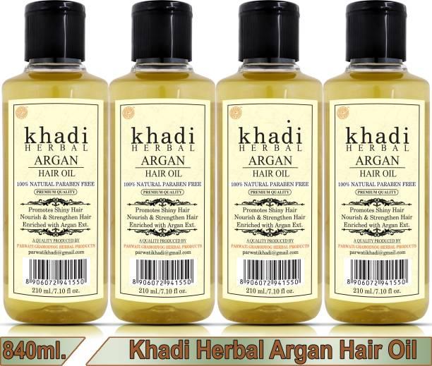 Khadi Herbal Argan Hair Oil For Shiny Nourished Hair (Pack Of-4) Hair Oil