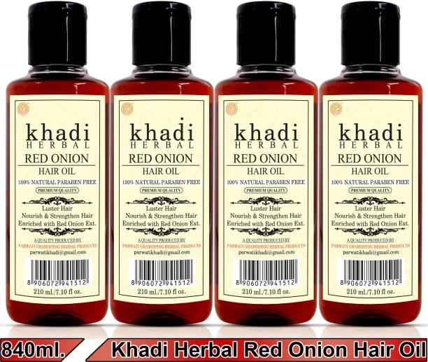 Khadi Herbal Red Onion Hair Oil Preventing Hair Loss & Promoting Hair Growth (Pack Of-4) Hair Oil