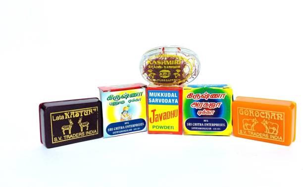 rsrs Pooja Pack Items-6 Divine Kungumapoo, Punugu, Gorojanam, Kasturi, Incense-Javadhu, Aragaja,