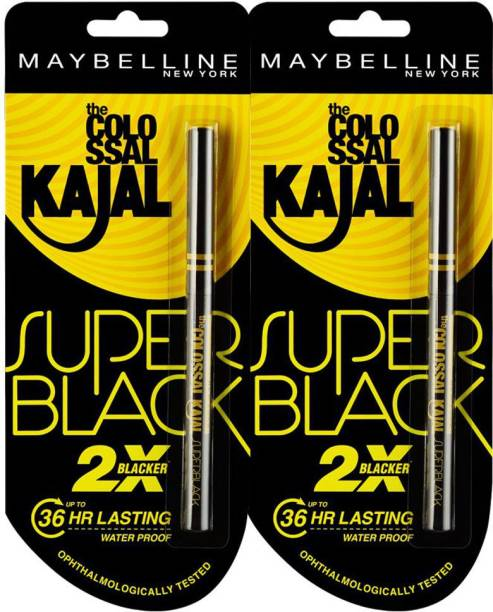 MAYBELLINE NEW YORK Super Black Kajal, 8.8 g (Pack of 2)