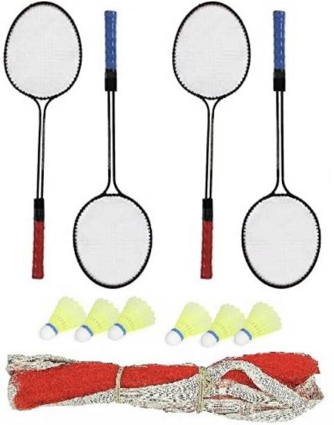 SPO Zone Double Shaft Iron Body Pack Of 2 Pair Badminton Rackets 6 Piece Plastic Shuttles And 1 Piece Net Badminton Kit