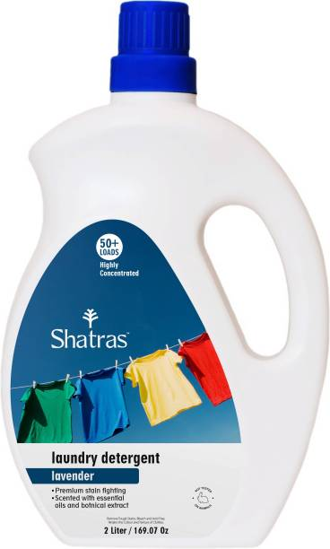 Shatras Premium Lavender Liquid Detergent for Top Load, Front Load Washing Machine and Hand Wash, Wash detergent, Concentrated laundry liquid for clothes - 2 Liter Lavender Liquid Detergent