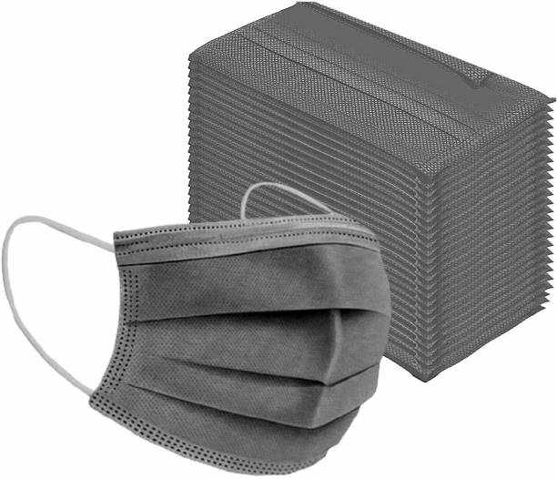 3W 3W-Mask-Grey-25 3 Ply Mask Export Quality Non Woven Breathable 3 Layer Protection Mask With Comfortabel Earloop & Nose Pin (Grey Pack 25) Surgical Mask