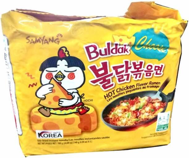 Samyang Hot Chicken Ramen Cheese Noodles, 5 X 140 g Instant Noodles Non-vegetarian