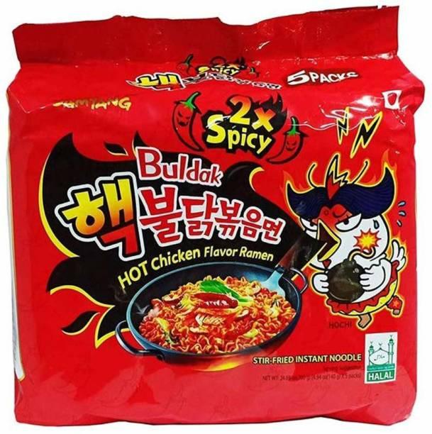 Samyang Hot Chicken Ramen 2X Spicy Buldak Noodles - (140gx5pack) Instant Noodles Non-vegetarian