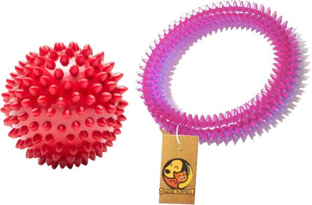 FOODIE PUPPIES Spike Ring and Spike Ball Rubber Chew Toy For Dog