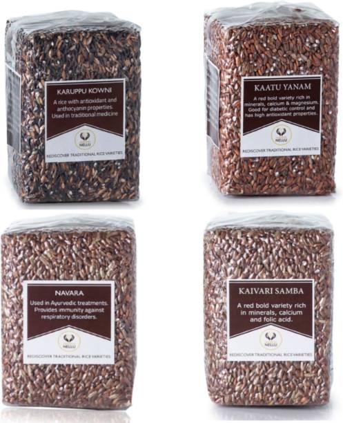 Namma Nellu Traditional Rice - Immunity Special Rice Combo (Navara 500gm + Kattu Yanam 500gm + Karuppu Kowni 500gm + Kaivari Samba 500gm) Red Raw Rice (Medium Grain, Unpolished)