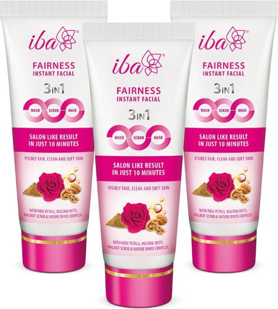 Iba Halal Care 3in1 Fairness Instant Facial Wash-Scrub-Mask (Pack of 3) Scrub