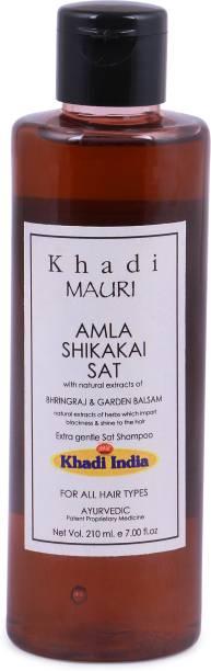 Khadi Mauri Herbal Amla & Shikakai Shampoo, Revitalises Hair & Nourishes Scalp, 210 ml