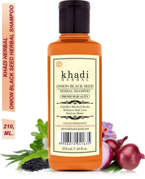 Khadi Herbal Onion Black Seed Shampoo Clarifies Blocked Roots Reduce Hair Fall (Pack Of-1)