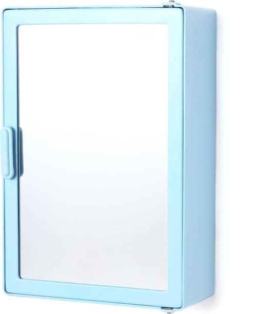 Zahab Single Door Blue Plastic Bathroom Cabinet 10 x 14 Shelf Bracket