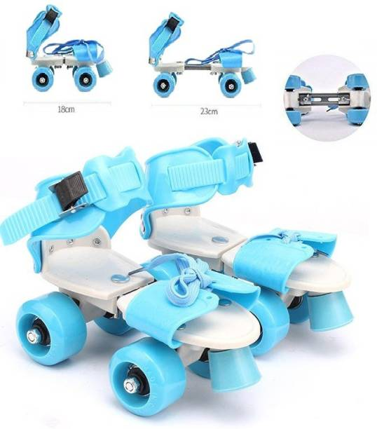 Bestie Toys Adjustable Multi Color Quad Shoe Roller Skates for Boys and Girls, Inline Skating Shoes Suitable for Age Group 5 to 12 Years Quad Roller Skates - Size 6 years to 12 years UK