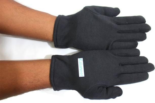 Kalaneet Cotton Black Men Women Summer Heat Dust Protecting Hand Gloves (Pack of 1 Pair) Riding Gloves