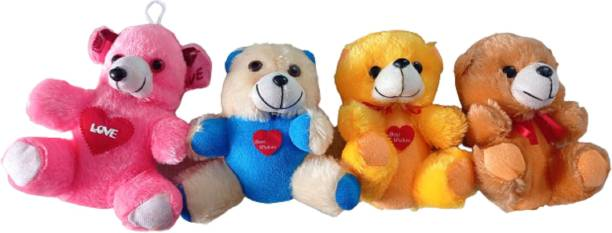 Funtoos Small Teddy Love Soft Toy - 10 cm (Yellow, Red, Brown, Pink)  - 10 cm
