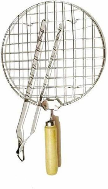 A2SK Round Roasting Net with Steel Chimta Stainless Steel Wire Roaster, Papad Jali,Roti Grill,Chapati Grill Round 19 cm, 27 cm Roasting Tong Set