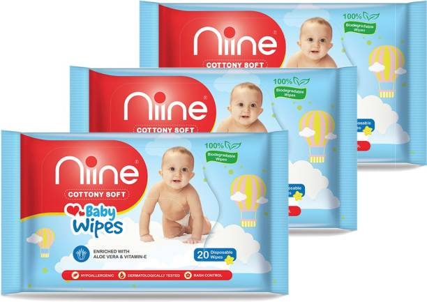 niine Biodegradable Baby Wipes with lid, with Aloe Vera and Vitamin E, 20 Wipes/Pack (Pack of 3)