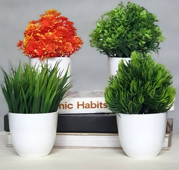 Litleo Set of 4 Great for home mini Bonsai Artificial Plant  with Pot