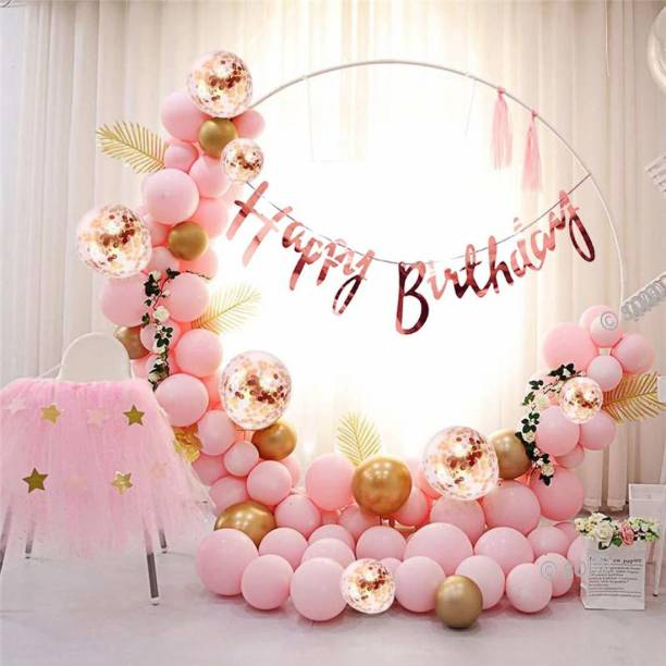 SOI (56 Pcs) Happy Birthday Bunting Banner with Chrome HD Metallic and Confetti Balloons Decoration Kit Set Decorations Items Combo Set (Rose Gold) (Rose Gold)