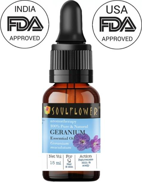 Soulflower Geranium Essential Oil (15 ml)| 100% Pure, Natural and Undiluted for Hair, Skin and Face