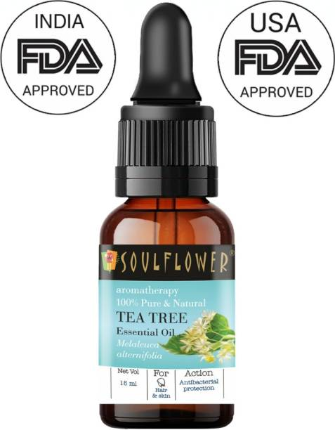 Soulflower Tea Tree Essential Oil (15 ml)| 100% Pure, Natural and Undiluted for Hair, Skin and Face| Controls Acne and Pimples