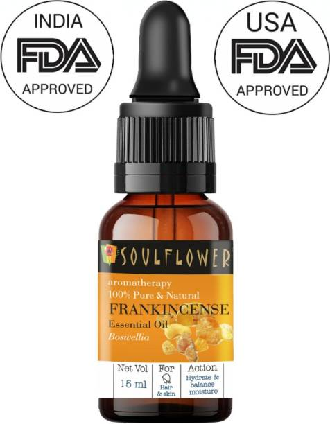 Soulflower Frankincense Essential Oil 15ml (15 ml)| 100% Pure, Natural and Undiluted for Hair, Skin and Face