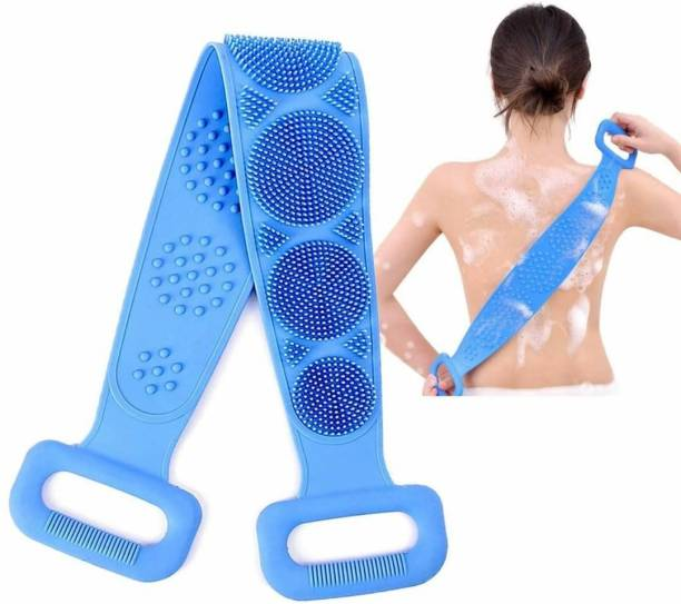 LAMANSH Silicone Body Back Scrubber, Double Side Bathing Brush for Skin Deep Cleaning Massage, Dead Skin Removal Exfoliating Belt for Shower, Easy to Clean, Lathers Well for Men & Women / Back Scrubber belt