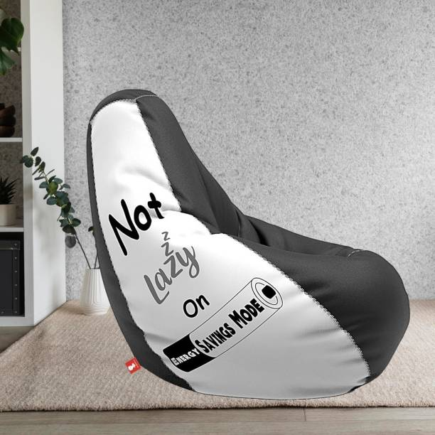 ComfyBean XXXL Designer Bean Bag Filled with Beans - Printed - Not Lazy - White & Black Teardrop Bean Bag  With Bean Filling