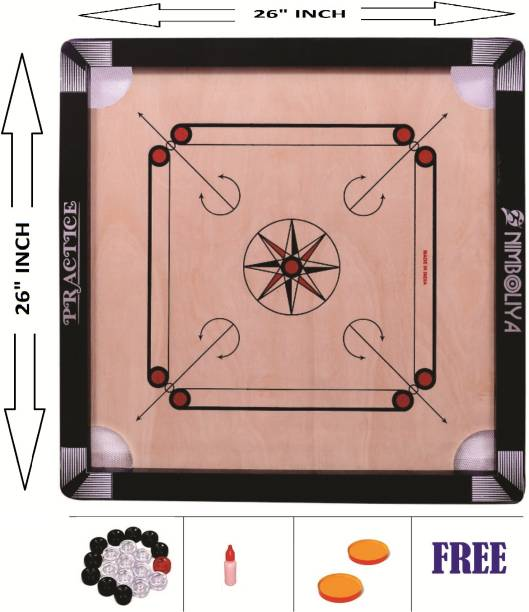 NIMBOLIYA CUT POCKIT gloss fine 26 inch with coins an striker and powder 26 cm Carrom Board