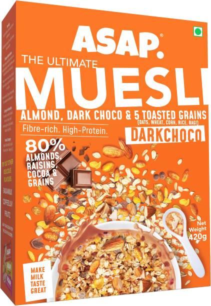 ASAP Wholegrain Muesli Dark Choco| High Protein Breakfast Muesli with Almonds, Raisins, Dark Choco & 5 Toasted Grains | Healthy Multigrain Granola with Nuts | Omega-3 & Fibre rich