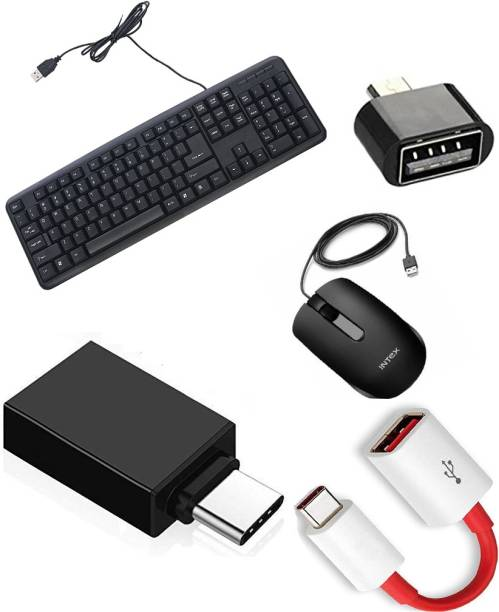 Intex usb keyboard soft keys keyboard best quality pro Wired USB Desktop Keyboard (Black) ECO-7 Wired USB Optical Mouse Wired Optical Mouse (USB 2.0, Black) , USB Type C OTG CONNECTOR DEVISE Type C to Micro OTG Adapter for OTG Enabled Type C Devices Micro USB OTG Adapter BEST QUALITY ITEM Combo Set