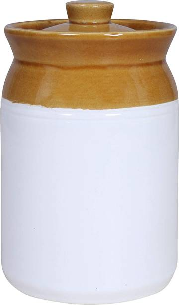 RAJ@ROYAL Pottery Hand Painted Ceramic Cornichon Storage Jar for Pickle   2 KG  - 2 L Ceramic Pickle Jar
