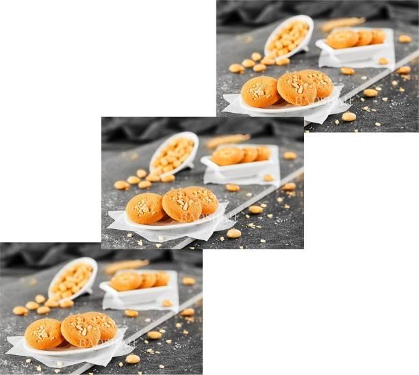 BADSHAH MILK RUSK BDSAHBaked Peanut cookies -(Pack of 3)-300g each Cookies