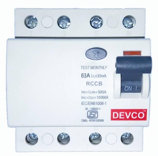 DEVCO 4-Pole-63-Amp (30mA)-RCCB RCC406303 MCB