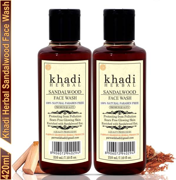 Khadi Herbal Sandalwood Face wash/Chandan  For Radiance And Glow (Pack Of-2) Face Wash