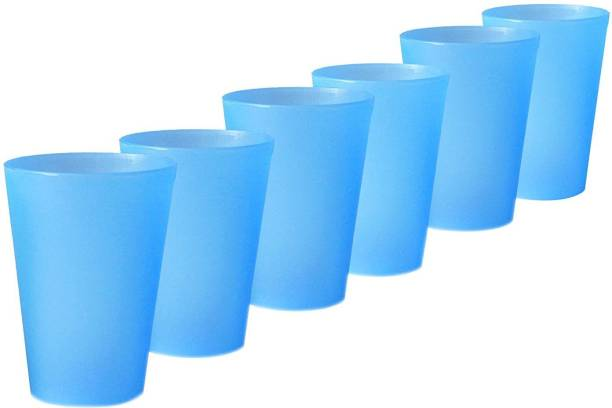 mastBus (Pack of 6) Plastic Glass Set of 6 for Drinking Water, Milk Unbreakable Jug Heavy Duty Multipurpose Container Jar Vessel Glass Set