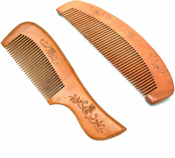 Naayaab Craft Sandal Wood Comb, Broad Tooth Anti-Dandruff Comb Great for Scalp, Hair & Beard Set of 2