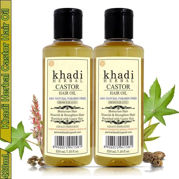 Khadi Herbal Castor Hair Oil For Moisturizes, Nourish & Strengthen Hair (Pack Of-2) Hair Oil