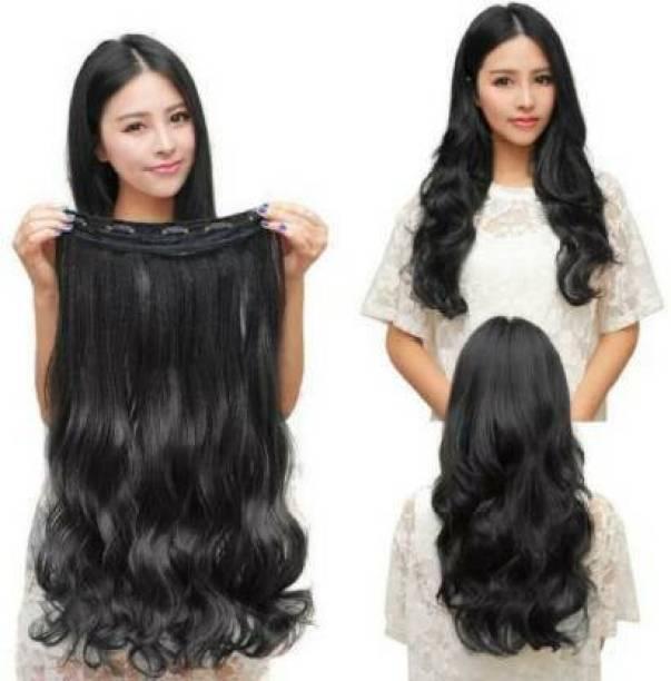 PEMA Black Wavy clip in Hair Extension
