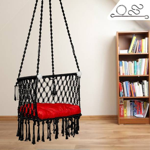 Patiofy Premium C- Swing with Red Cushion Cotton Large Swing