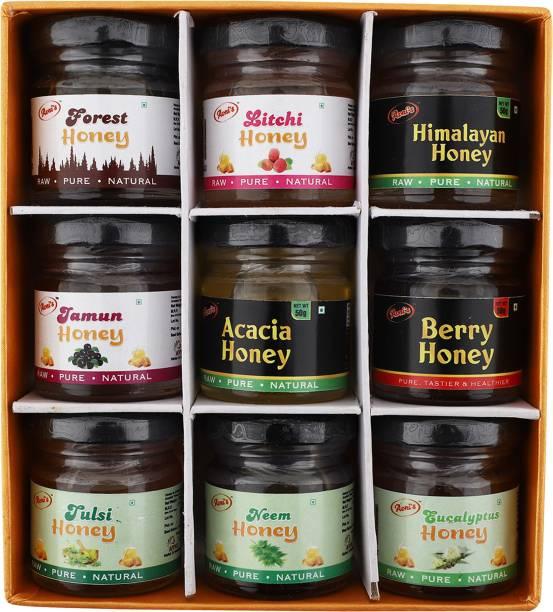 avni's Combo Pack of 9 Different Flavoured Honey | Forest Honey | Litchi Honey | Himalayan Honey | Jamun Honey | Aracia Honey | Berry Honey | Tulsi Honey | Neem Honey | Eucalyptus Honey | 50g Each
