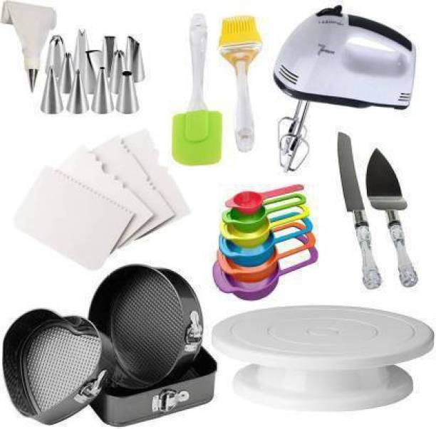 SHREE SADGURU CREATION All In One Cake Making Tools Combo 8 in 1 - 3 Pc Cake Moulds + Cake Turn Table Stand + 6 Pcs Measuring Cups + Silicone Spatula and Brush Set + 4 Pcs Scraper + 12 Piece Cake Decorating Set Piping Bag + Electric Hand biter + Stainless Steel Cake Knife and Server Set with Acrylic Handle (All Product Reusable & Washable) All In One Cake Making Tools Combo 8 in 1 - 3 Pc Cake Moulds + Cake Turn Table Stand + 6 Pcs Measuring Cups + Silicone Spatula and Brush Set + 4 Pcs Scraper + 12 Piece Cake Decorating Set Piping Bag + Electric Hand biter + Stainless Steel Cake Knife and Server Set with Acrylic Handle (All Product Reusable & Washable) All In One Cake Making Tools Combo 8 in 1 - 3 Pc Cake Moulds + Cake Turn Table Stand + 6 Pcs Measuring Cups + Silicone Spatula and Brush Set + 4 Pcs Scraper + 12 Piece Cake Decorating Set Piping Bag + Electric Hand biter + Stainless Steel Cake Knife and Server Set with Acrylic Handle (All Product Reusable & Washable) Multicolor Kitchen Tool Set (Multicolor) Multicolor Kitchen Tool Set