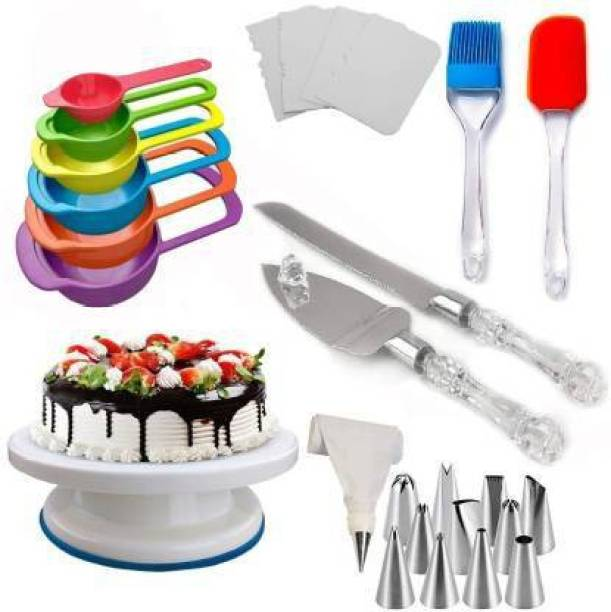 SHREE SADGURU CREATION CAKE DECORATING TOOLS Cake Making Tools Combo 6 in 1 All In One Cake Making Tools Combo 6 in 1 - Cake Rotate Turntable + 6 Pcs Multi-Color Measuring Spoon + Silicone Spatula and Brush Set + 4 Pcs Scraper set + 12 Piece Cake Decorating Set with Piping Bag + Stainless Steel Cake Knife and Server Set with Acrylic Handle (All Product Reusable & Washable) Multicolor Kitchen Tool Set (Multicolor) Multicolor Kitchen Tool Set