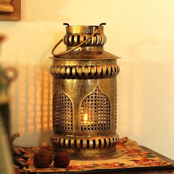 SADHUBELA INDUSTRIES Jaisalmeri Mehrab Lantern Gold Iron Table Lantern