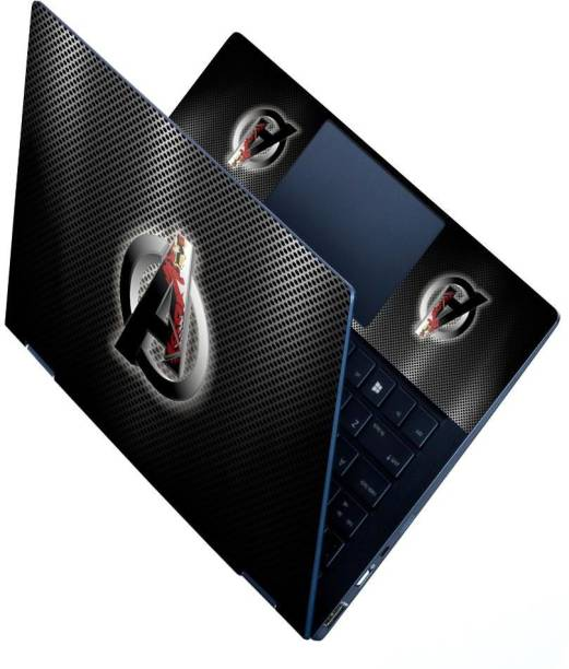 dzazner Premium Vinyl HD Printed Easy to Install Full Panel Laptop Skin/Sticker/Stretchable Vinyl/Cover for all Size Laptops upto 15.6 inch No Residue, Bubble Free - Avengers Logo Iron Man Metal Stretchable Vinyl - Easily Cover Corners Laptop Decal 15.6